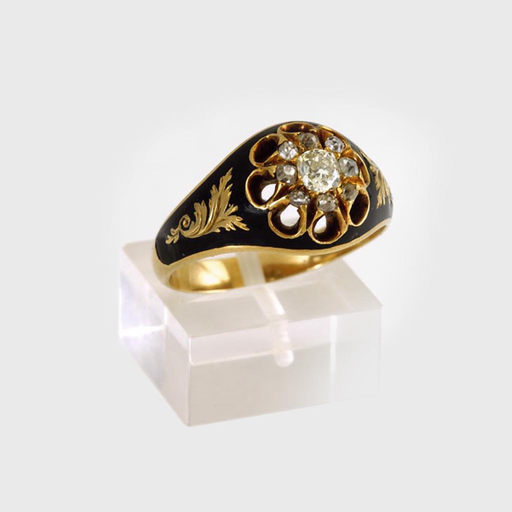 Pierścionek z emalią i diamentami, Rosja - początek XIX wieku