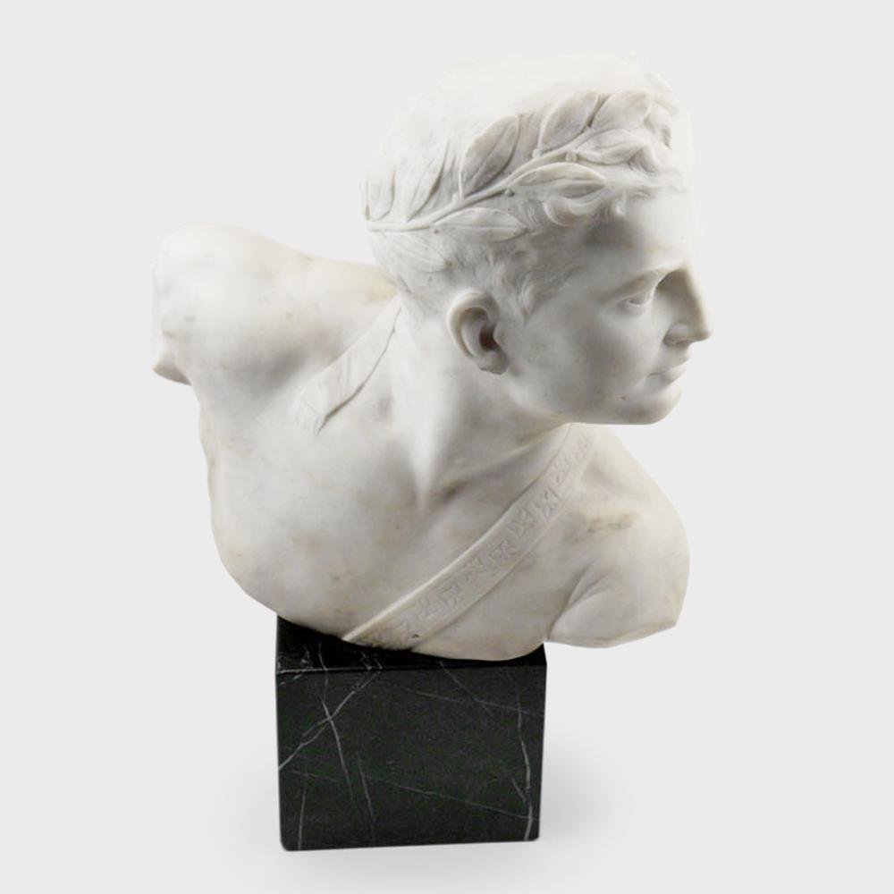 Popiersie rzymskiego młodzieńca - alabaster, Włochy